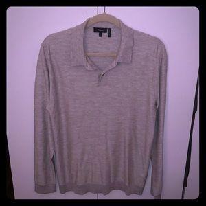 Vince, grey long sleeve collard shirt (2018 fall)